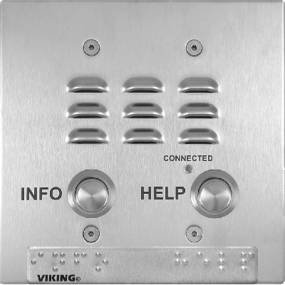 Viking E-1600-22-IP ADA Compliant Two Button Double Gang Box Mount VoIP Emergency Phone with Built-In Dialer and Digital Voice Announcer