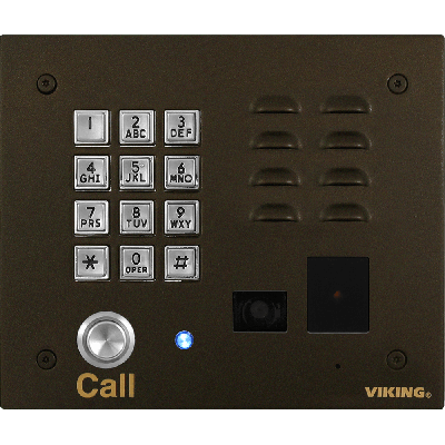 Viking K-1775-BN-IPEWP Oil Rubbed Bronze VoIP Stainless Steel Entry Phone with Built-In Entry System Proximity Card Reader and Analog Color Video Camera